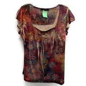 B.L.E.U. Burgundy Floral Cap Sleeve Shirt
